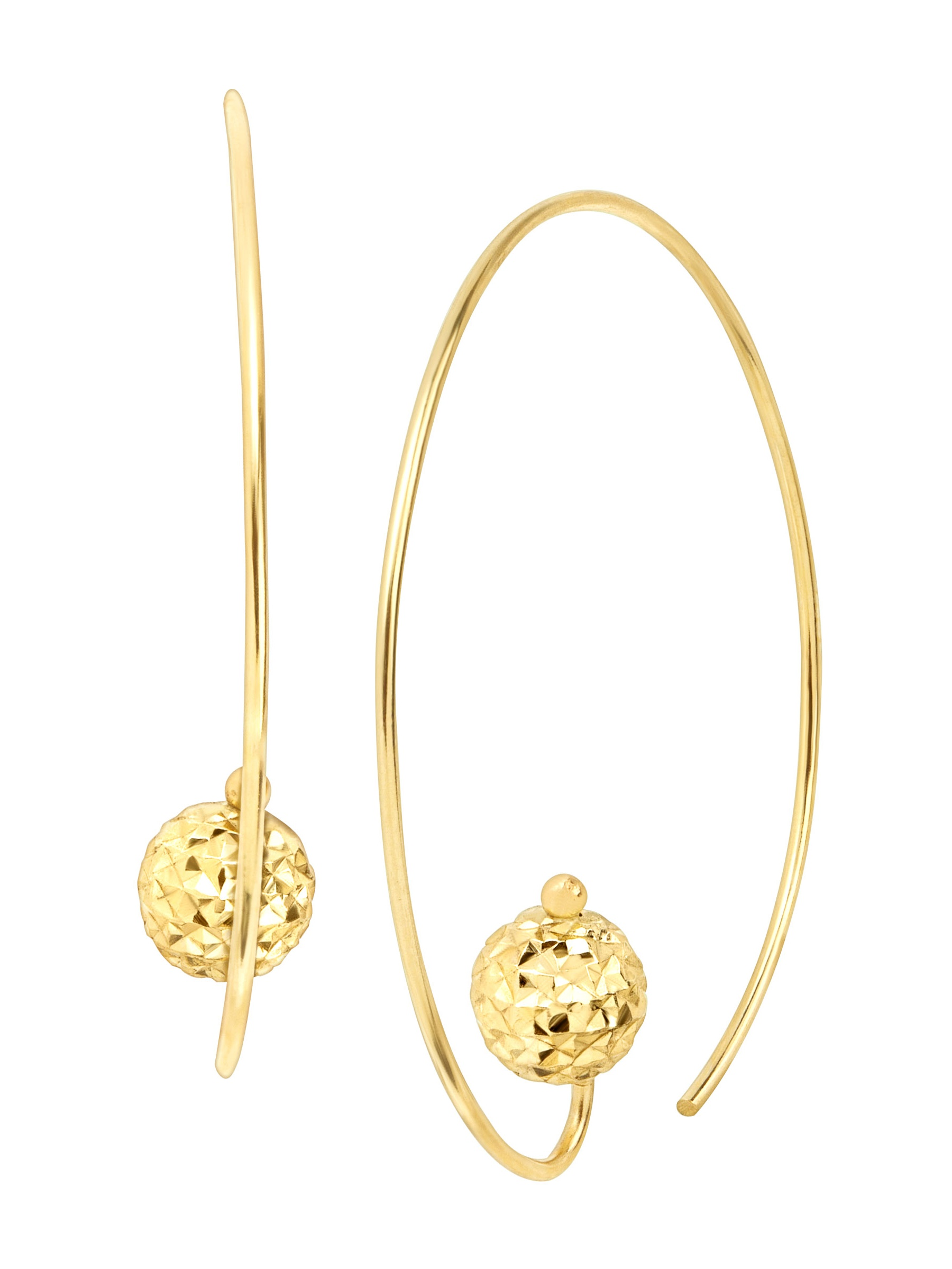 Eternity Gold Wire Hoop Earrings With Textured Bead In 14kt
