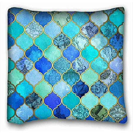 WinHome Cobalt Blue Aqua Gold Moroccan Tile Pattern Throw Pillow Case Cases Cover Cushion Covers Sofa Size 18x18 Inches Two Side (Cobalt Throw Pillow)