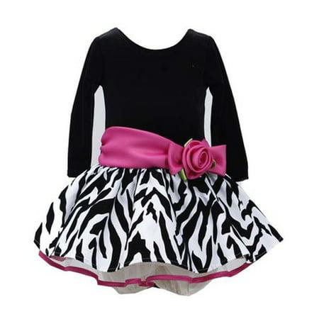 Black Fuchsia Zebra Hipster Dress - Girls Party Dress - Zebra Girls