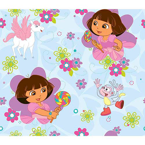 Springs Creative Creative Cuts Dora Dancing with Rainbow N' Horse, 43/44, 2-Yard Bolt, Light Blue