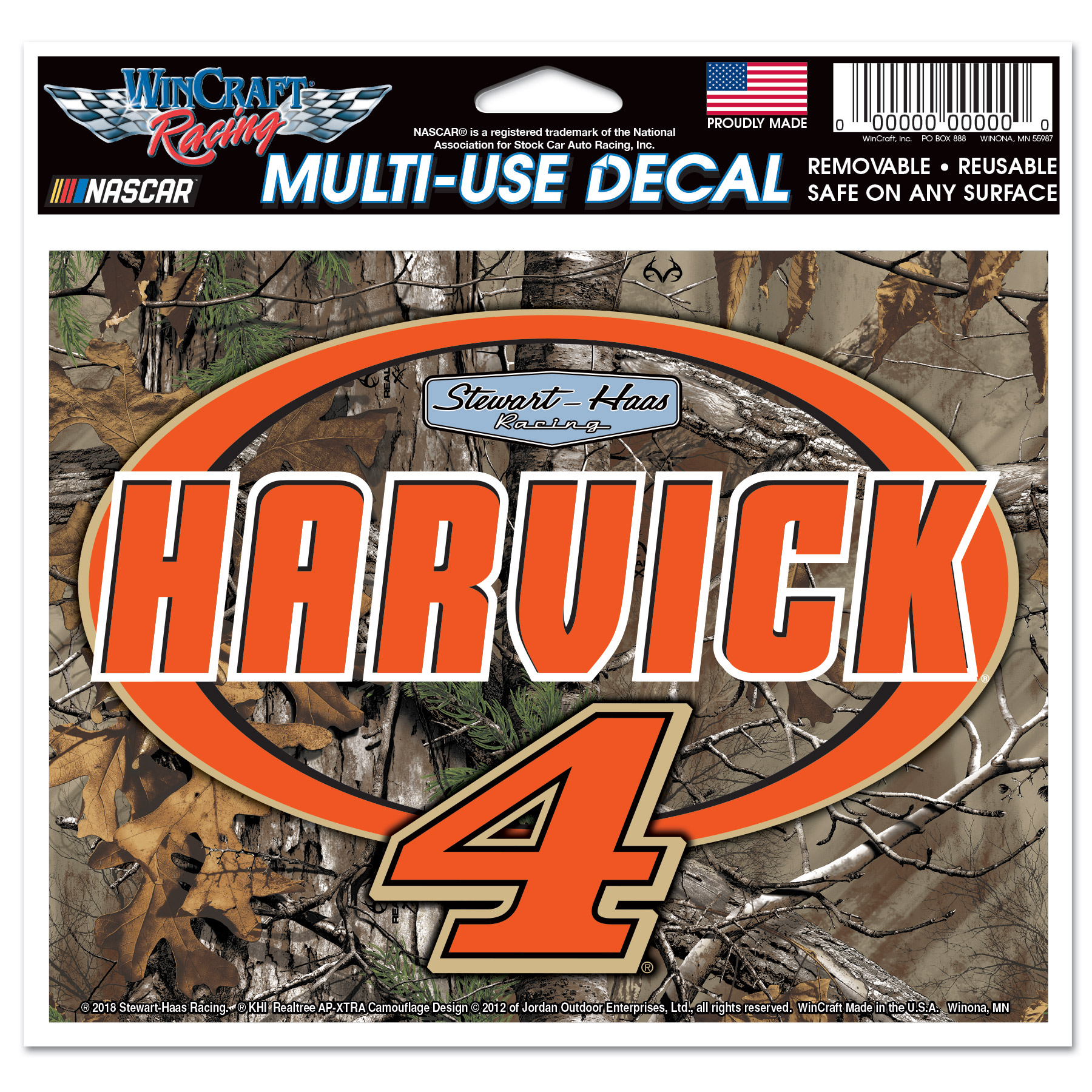 """Kevin Harvick WinCraft 4.5"""" x 6"""" Camo Multi-Use Decal - No Size"""