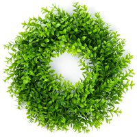 "Coolmade Artificial Green Leaves Wreath - 16"" Artificial Boxwood Wreath for Front Door Wall Window Party Décor, Indoor/Outdoor Use"