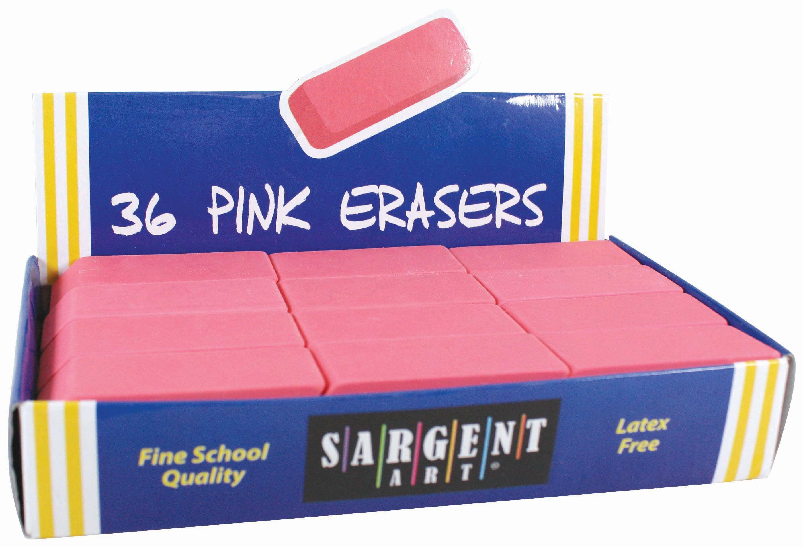 Sargent Art Large Pink Erasers, 36-Count (36-1012) by Sargent Art