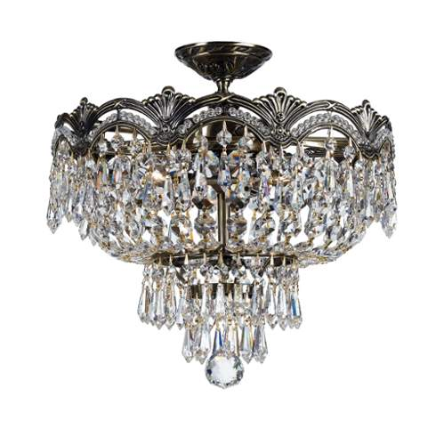 Crystorama 1483-HB-CL-I Three Light Semi-Flush Ceiling Mount by Crystorama