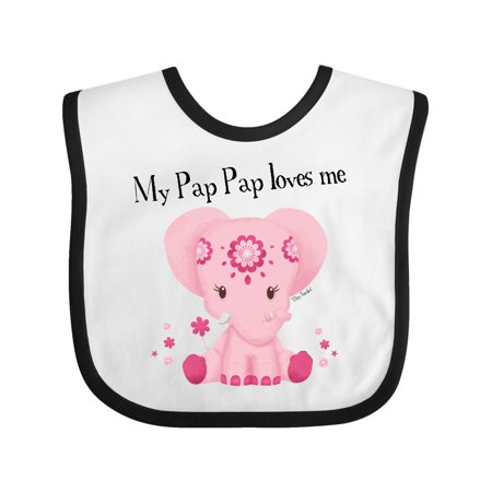 Aditi My Pap Pap loves me Pink Elephant beautiful Baby Bib White/Black One Size