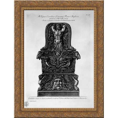 Candlestick in the Palazzo Lante in St. Eustachian 20x24 Gold Ornate Wood Framed Canvas Art by Piranesi, Giovanni