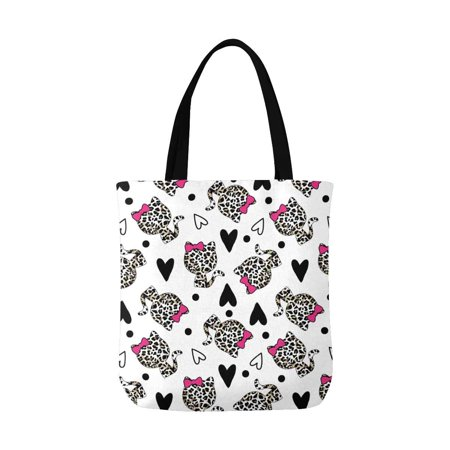 - ASHLEIGH Cute Girly Cat in Leopard Print Design with Polka Dots Unisex Canvas Tote Canvas Shoulder Bag Resuable Grocery Bags Shopping Bags for Women Men Kids