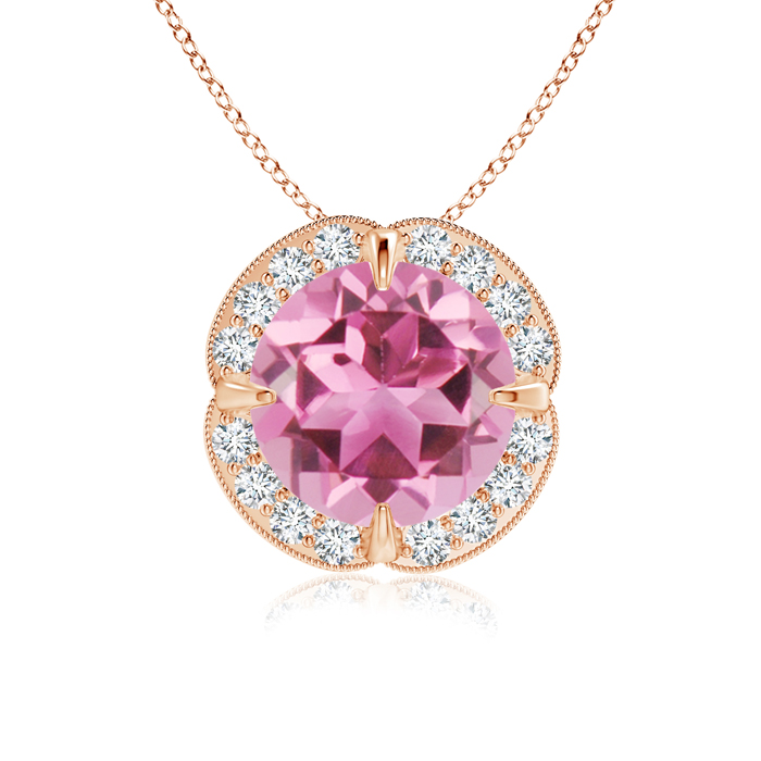 Mother's Day Jewelry Necklace Claw Set Pink Tourmaline Clover Necklace Pendant with Diamond Halo in 14K Rose Gold (8mm... by Angara.com