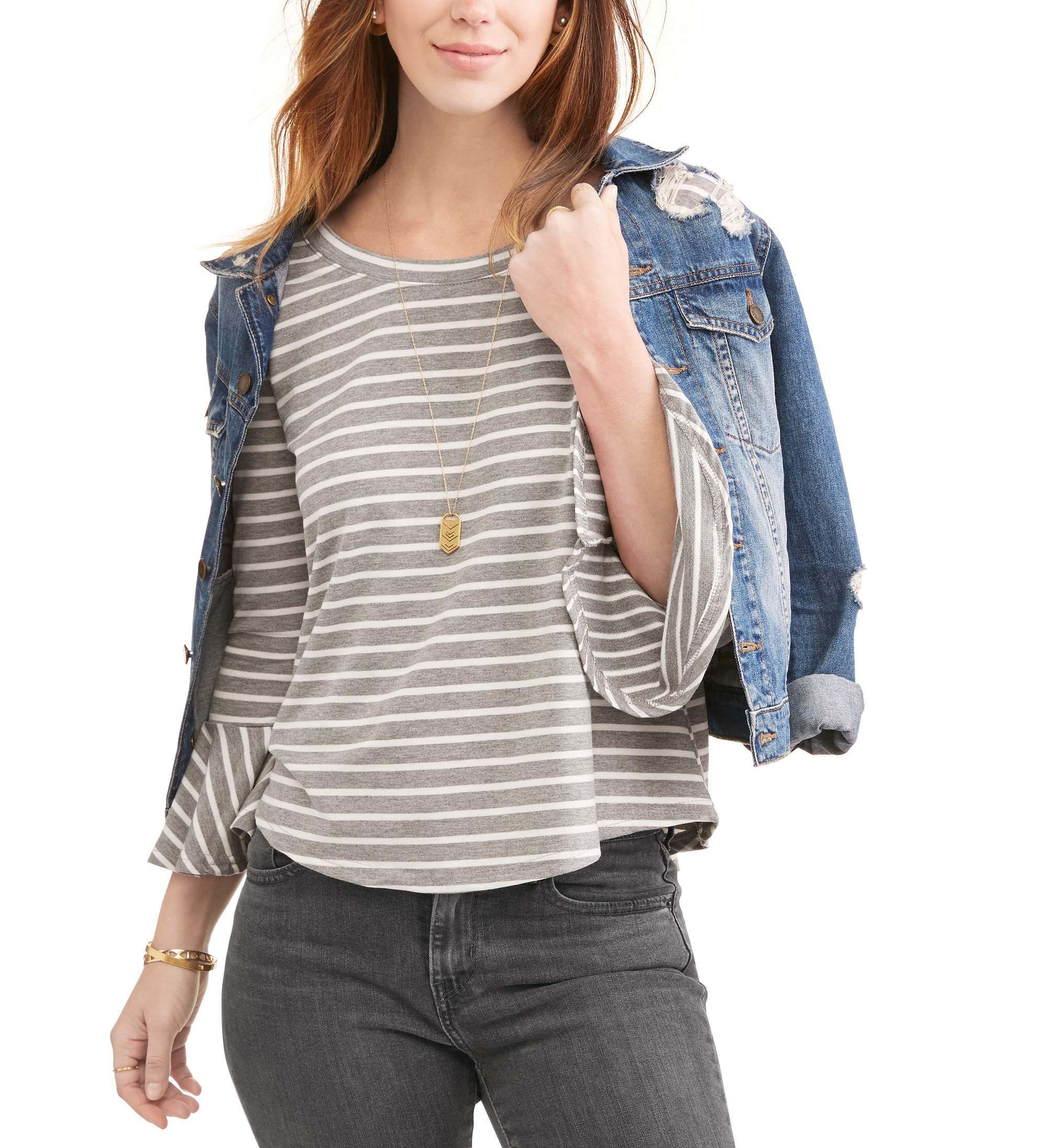 Thyme and Honey Women's Striped Bell Sleeve Top