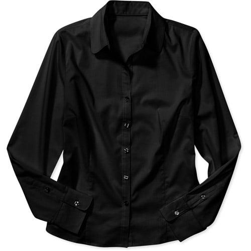 George Women S Long Sleeve Button Down Shirt Walmart Com