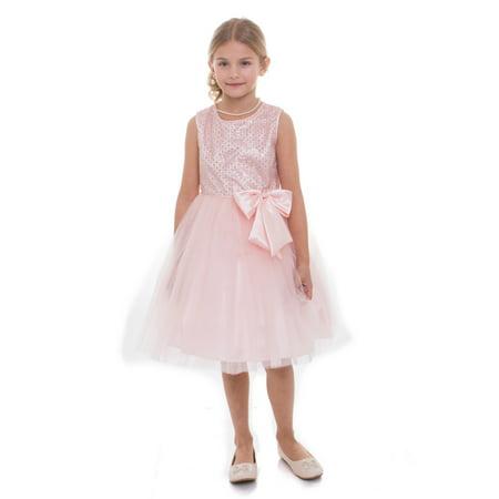 1edff4ab4 Girls Blush Sequin Charmeuse Bow Junior Bridesmaid Dress - Walmart.com