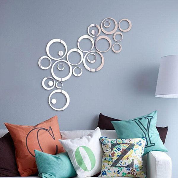 DIY 3D Mirror Wall Sticker Modern Home Living Room Decor Art Craft Wall Stickers Silver by