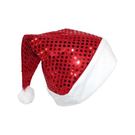 Santa Hats In Bulk (Size  one size Women's Sequin Santa Holiday Novelty)