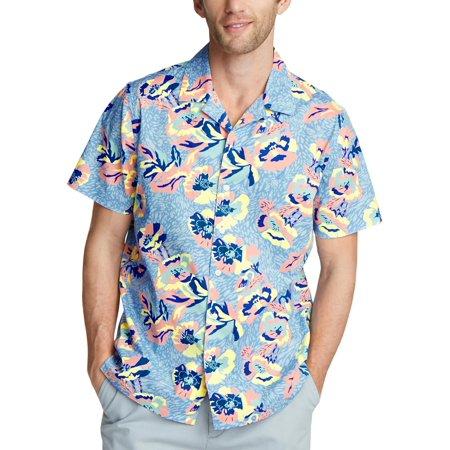 Nautica Mens Floral Short Sleeve Button-Down Shirt