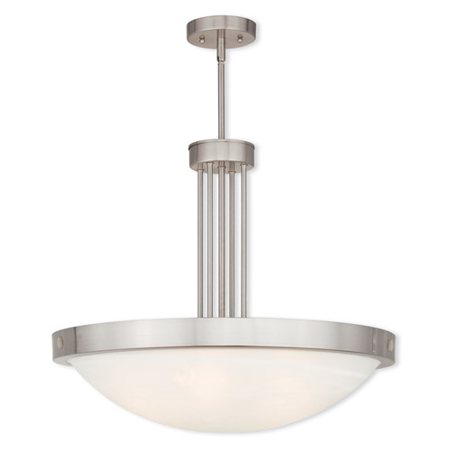 Pendants Porch 5 Light With White Alabaster Glass Brushed Nickel size 24 in 500 Watts - World of