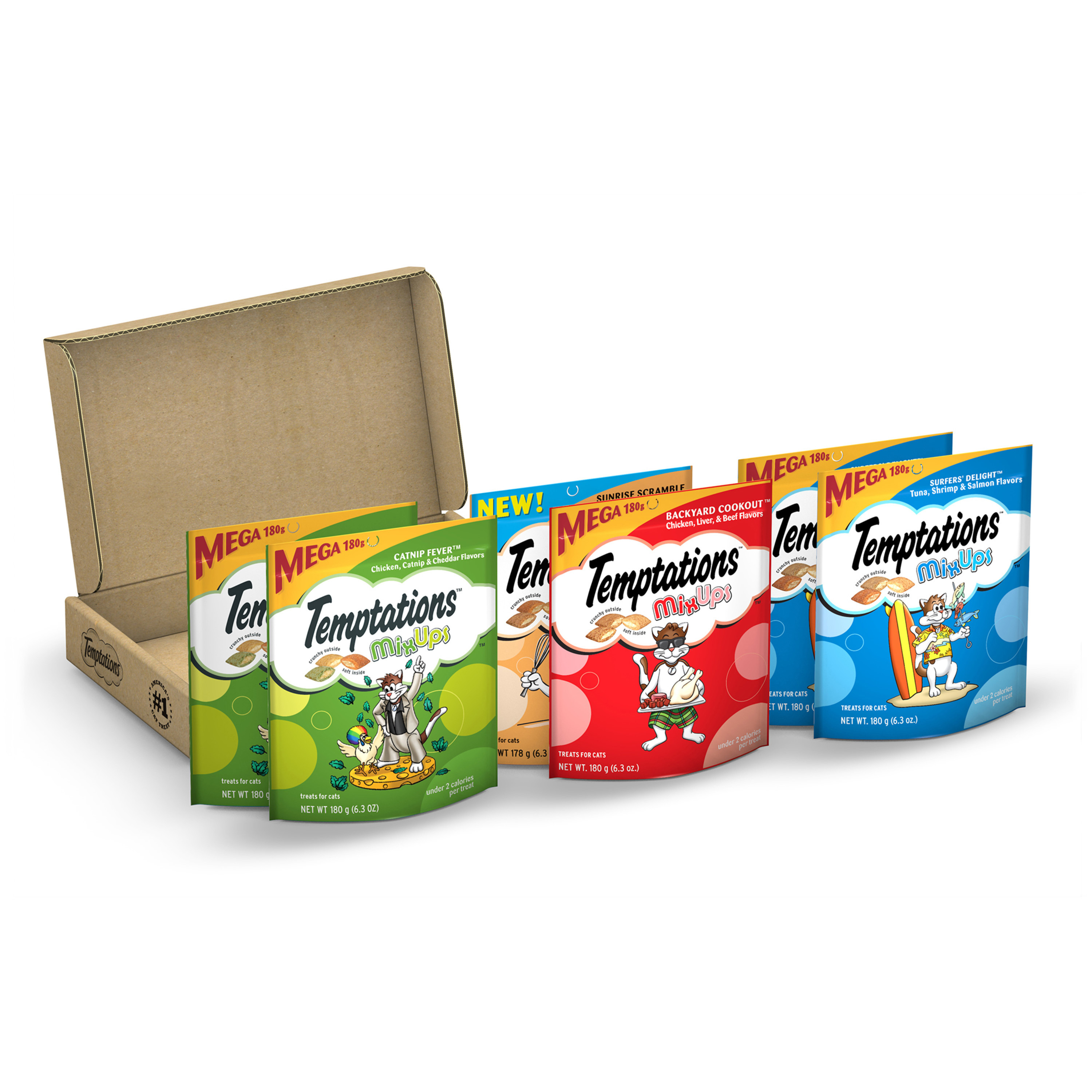 TEMPTATIONS MIXUPS Cat Treats Variety Pack in Catnip Fever, Surfers' Delight, Backyard Cookout, and Sunrise Scramble Flavor, (6) 6.3 oz. Pouches