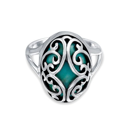 Scroll Oval Gemstone Blue Stabilized Turquoise Boho Fashion Statement Ring Band For Women For Teen 925 Sterling (Gemstone Scroll)