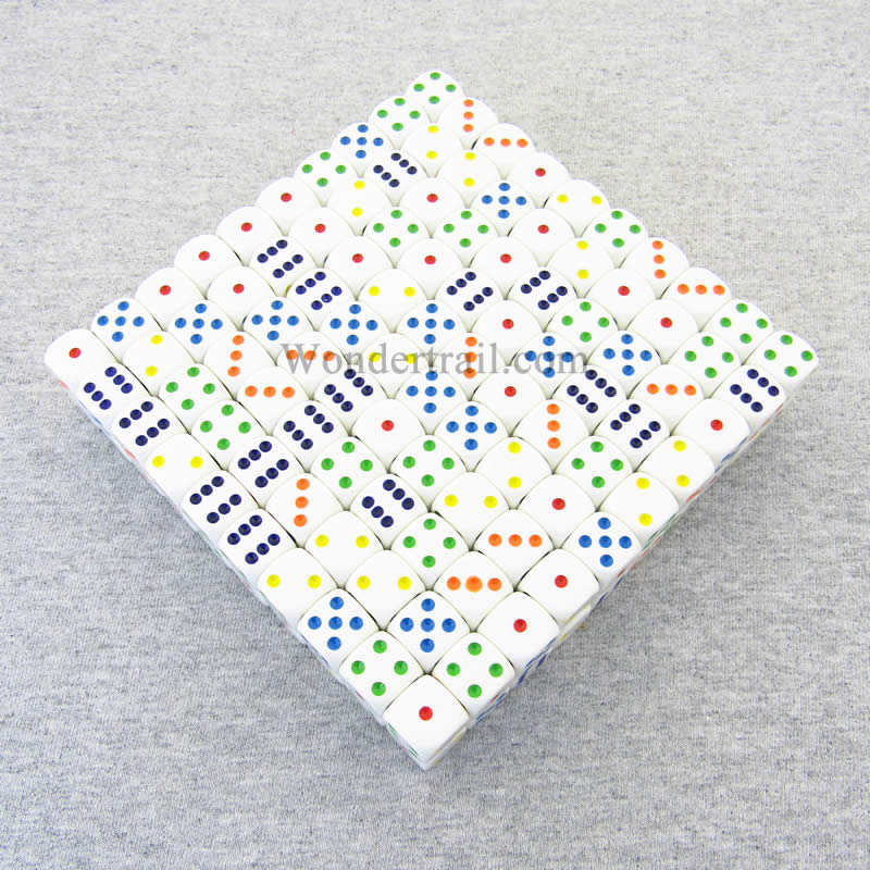 White Opaque Dice with Multi-Colored Pips D6 16mm (5/8in) Bulk Pack of 200 Koplow Games