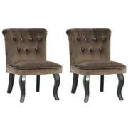 HOMYCASA Small Size 2PCS Crushed Velvet Accent Chair French Style Soft Velvet Seat &Back Rest Black Rubber Wood Leg ,Brown