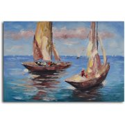 My Art Outlet Duo of Sail Boats Painting on Wrapped Canvas