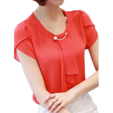 MAXSUN Women Summer Short Sleeve Chiffon T-Shirt Pearl Casual Office - Eagles Womens Pearl