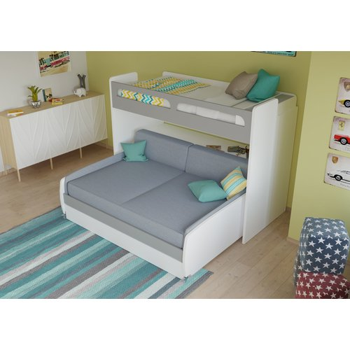 Brayden Studio Gautreau Twin Bunk Bed Over Full XL Sofa Bed, Table And  Trundle