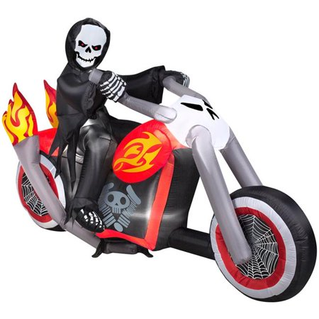 Comin DJ-WS-29070 6 ft. Grim Reaper on Flaming Chopper Motorcycle with Halloween - Grim Reaper Decorations