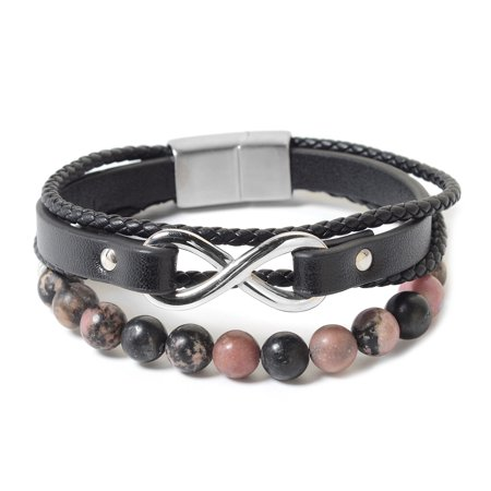 Rhodonite Beads Genuine Leather Stainless Steel Multi Strand Bracelet for Women Jewelry Gift 8""