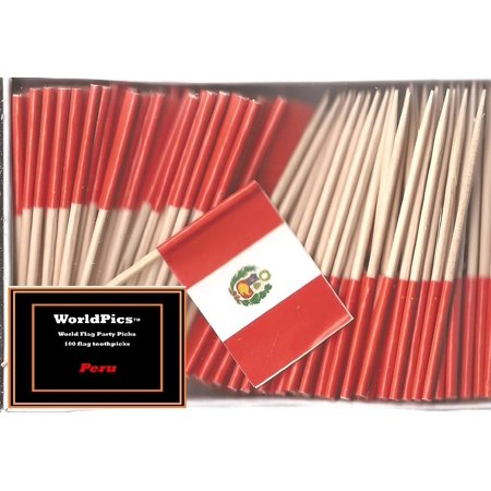 - One Box Peru Toothpick Flags, 100 Small Peruvian Cupcake Flag Toothpicks or Cocktail Picks