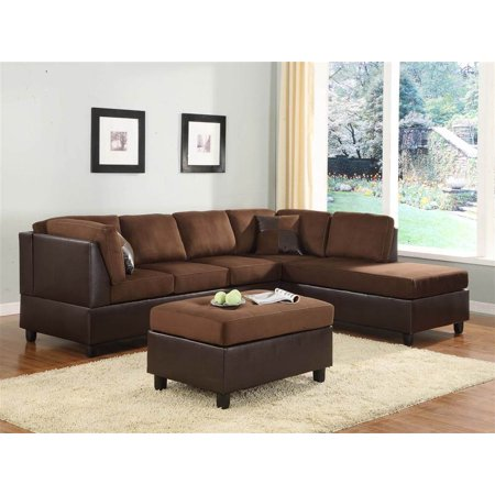 Sectional sofa chaise in chocolate rhino microfiber for Brown microfiber chaise lounge