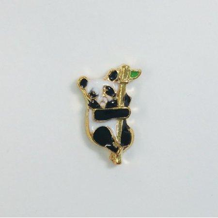 1 PC - Panda Bear Animal Enamel Silver Charm for Floating Locket Jewelry F0112