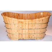 "Alfi Brand Ab1105 63"" Cedar Soaking Bathtub For Freestanding Installations With - Natural"