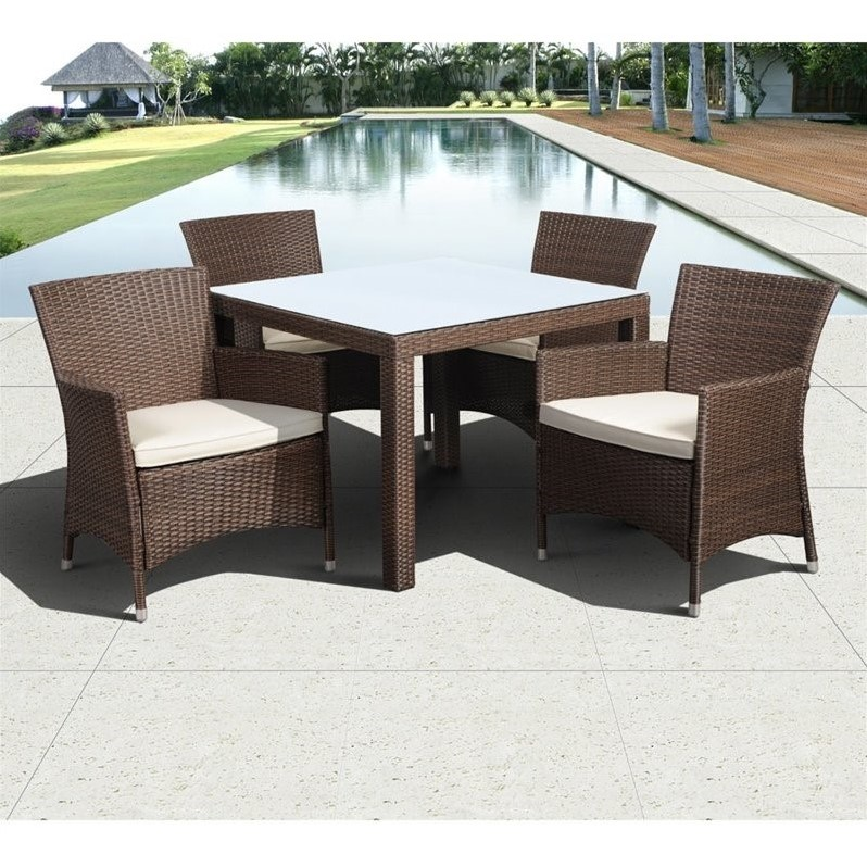 Grand New Liberty Square 5-Piece Patio Dining Set Brown w/Cushions