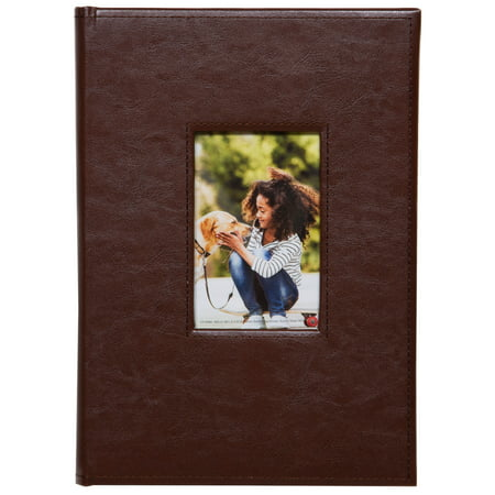 Pinnacle Brown Faux Leather Photo Album with Front Cover Window Frame, Holds 150 - 4