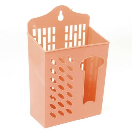 Plastic Ellipse Hole Perforat Wall Mounted Chopstick Fork Case Container Orange