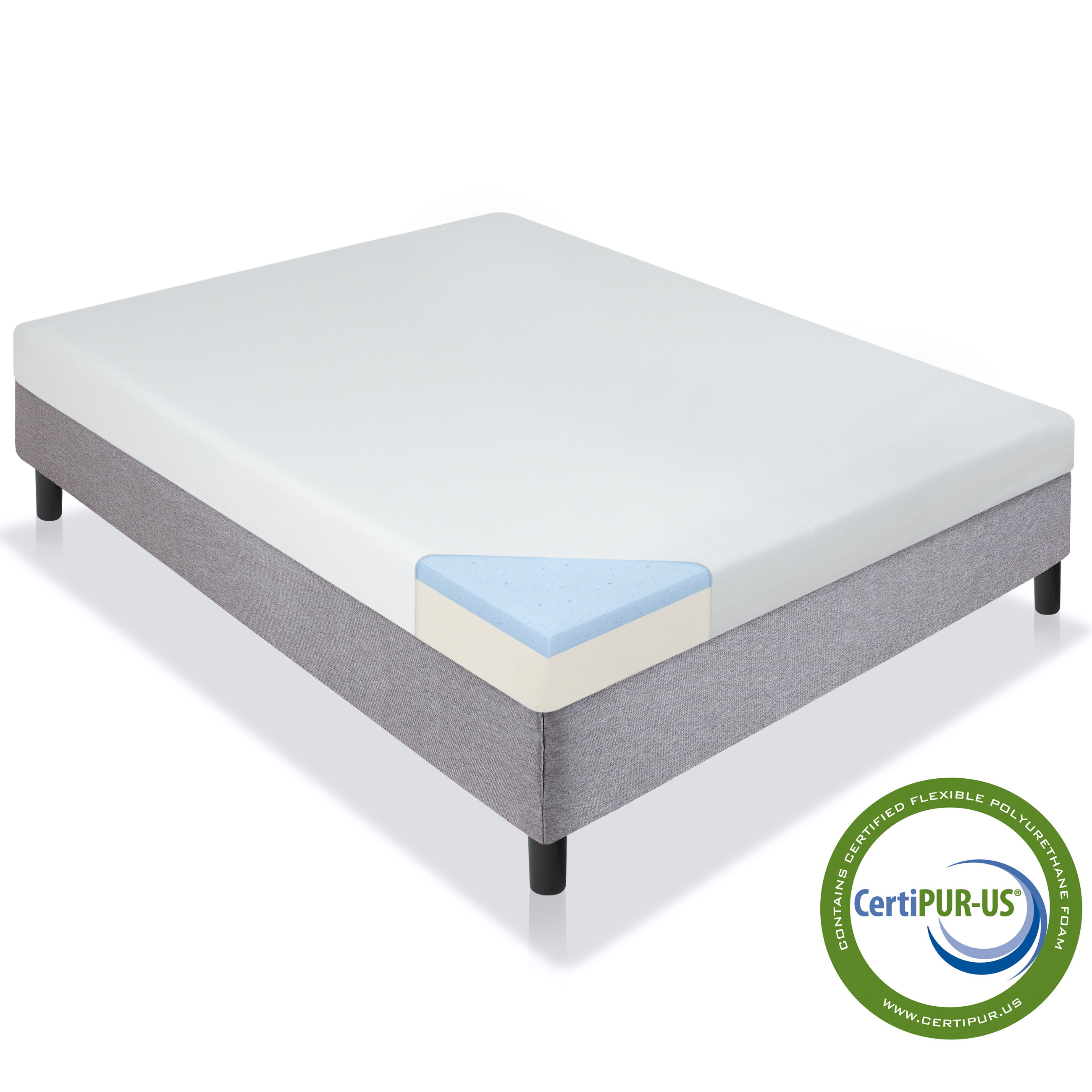 Best Choice Products 5in Full Size Dual Layered Gel Memory Foam Mattress w/ CertiPUR-US Certified Foam