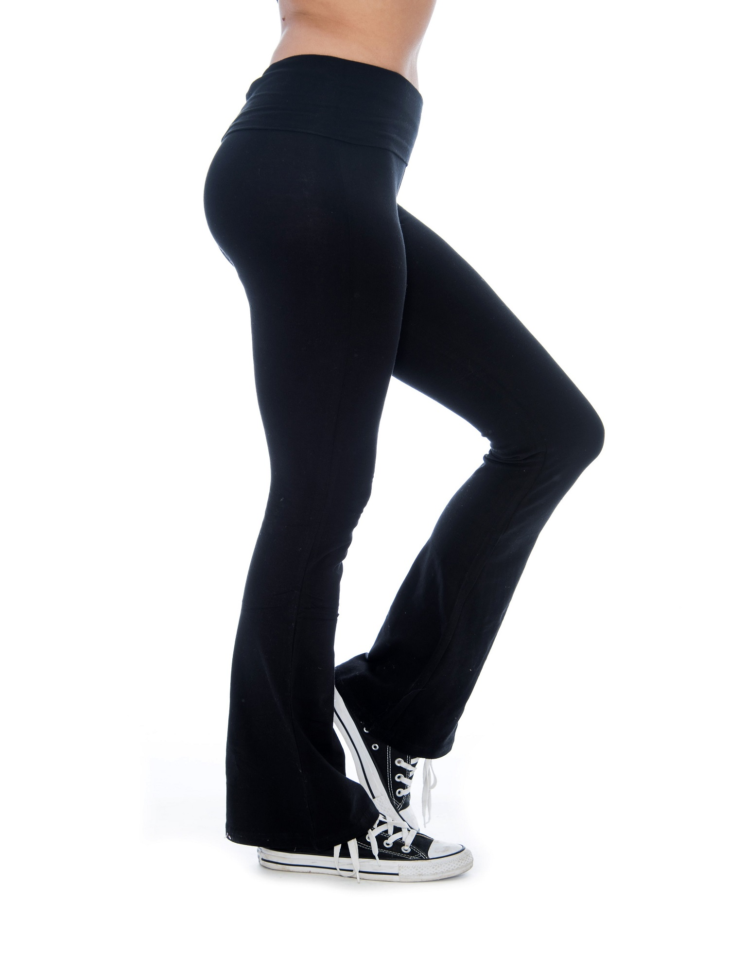 Unique Style Women's Yoga Pants Fold-Over Waistband Flared Boot Leg (Black, Small)