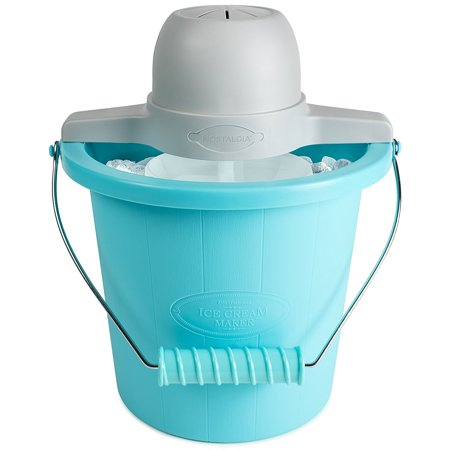 ICMP400BLUE 4-Quart Electric Ice Cream Maker with Easy Carry Handle, Works best with Nostalgia Ice Cream Mixes: Try the creamy French Vanilla (ICP825VAN8PK),.., By (Best Rated Ice Cream Maker)