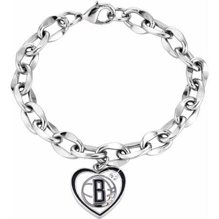 NBA Women's Swarovski Crystal Fine Silver-Tone Brooklyn Nets Heart Charm Bracelet