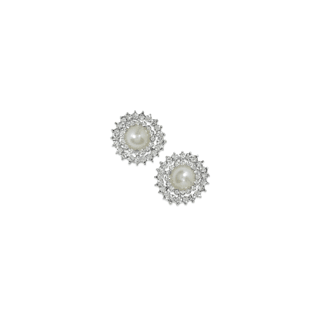 Faux Pearl Button - Expo Int'l 23mm Glass Rhinestone Buttons with Faux Pearl Pk/2