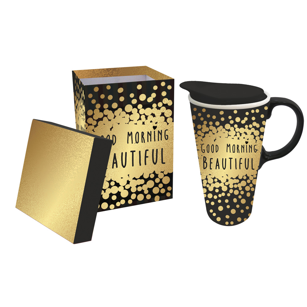Cypress Home Good Morning Beautiful Ceramic Travel Coffee Mug 17 Ounces
