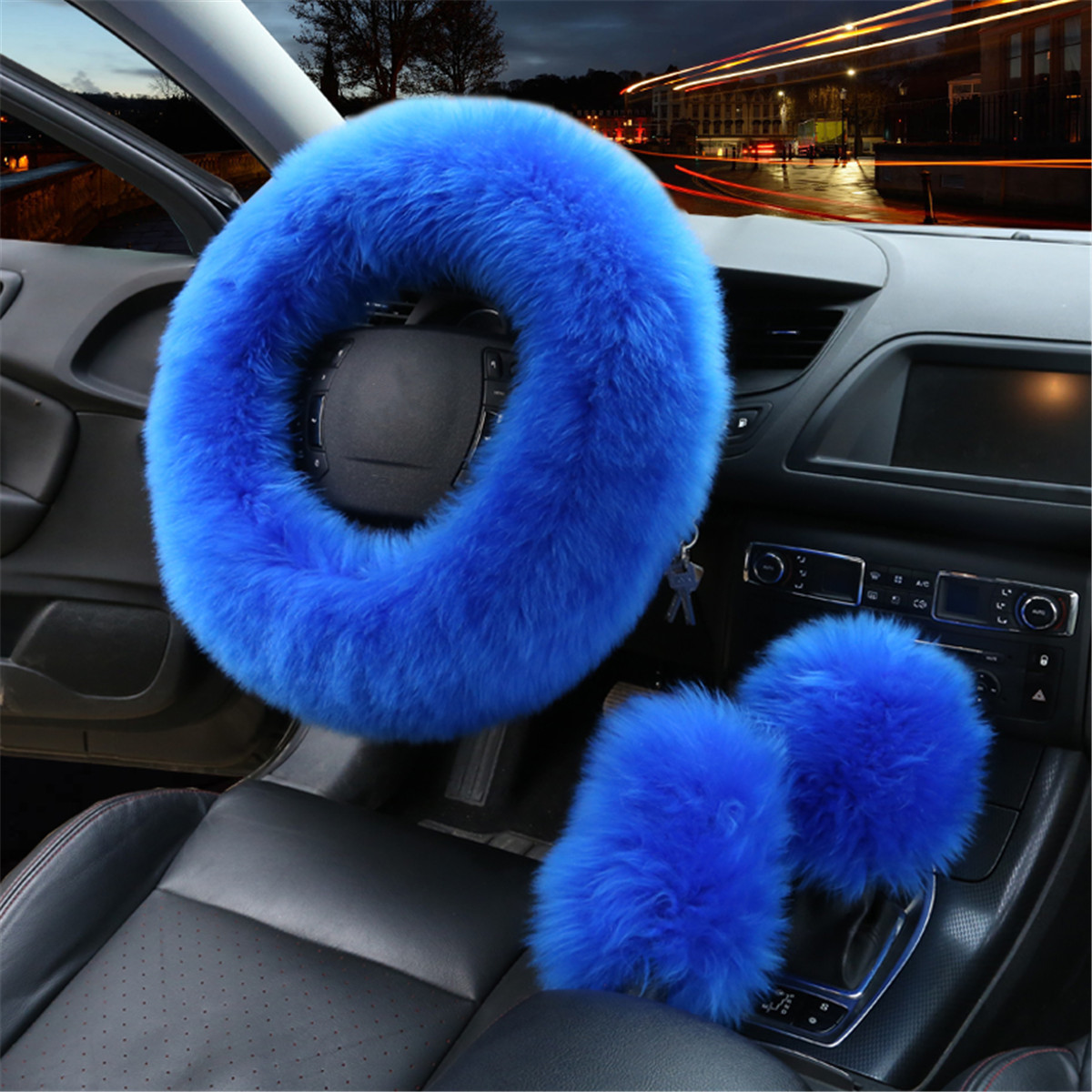 3Pcs Winter Furry Car Steering Wheel + Gear Knob Shifter Parking Brake Cover Set Christmas Gift Decor Luxury
