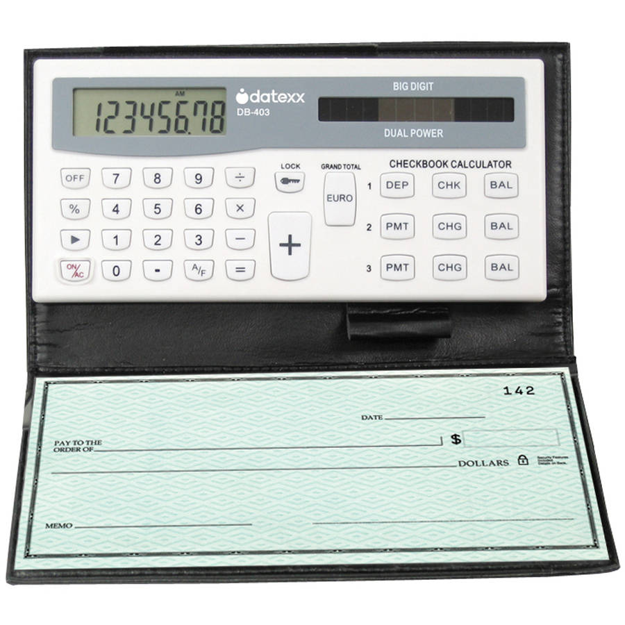 Datexx 3-Memory Checkbook Calculator Tracks Banking or Credit Balances