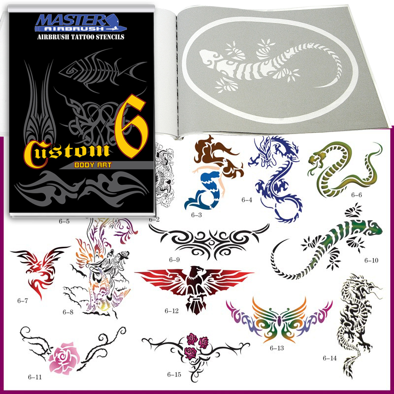 SET 6 BOOK 15 Lg Reusable Airbrush Temporary Tattoo Stencil Art Designs Template