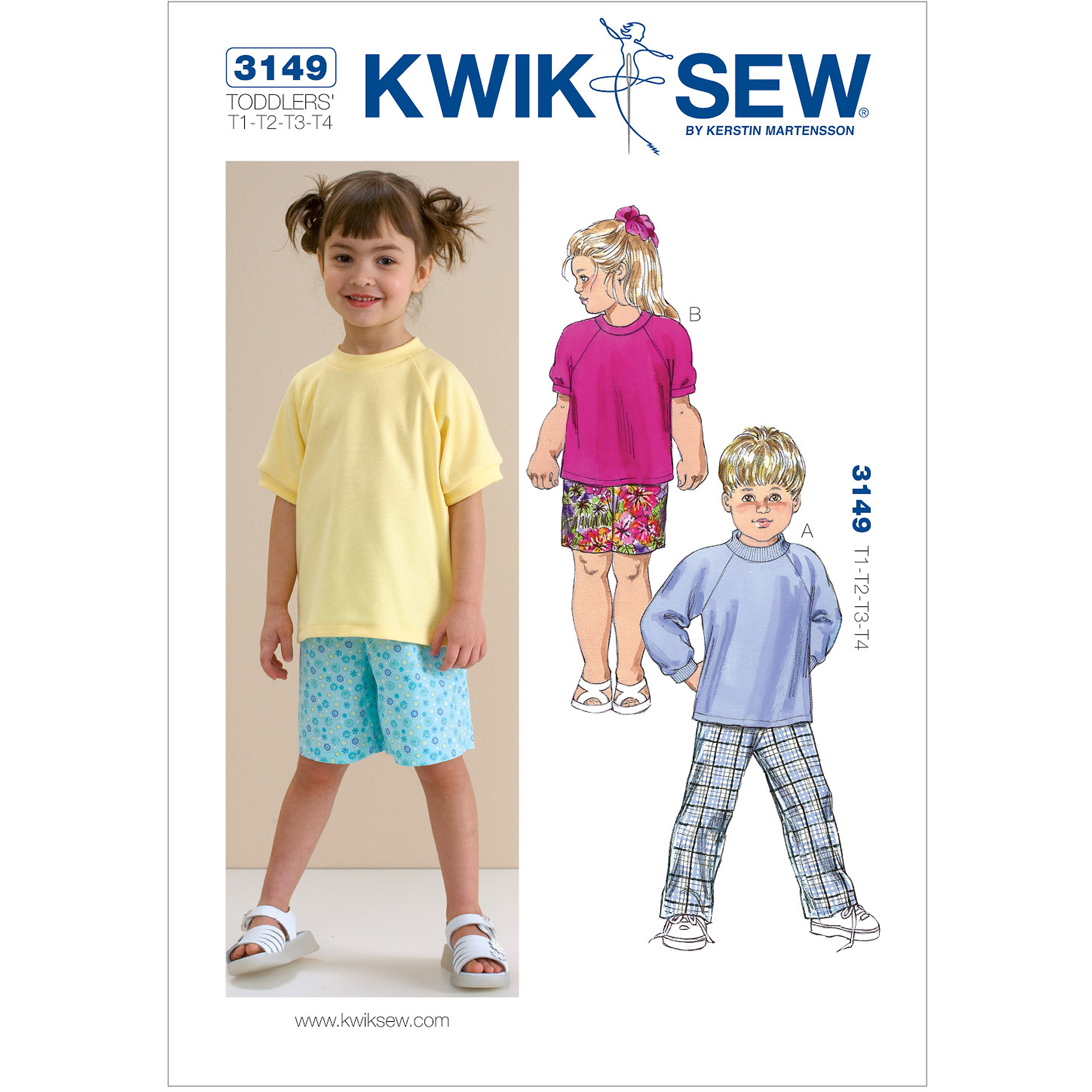 Kwik Sew Pattern Shirts, Pants and Shorts, (T1, T2, T3, T4)