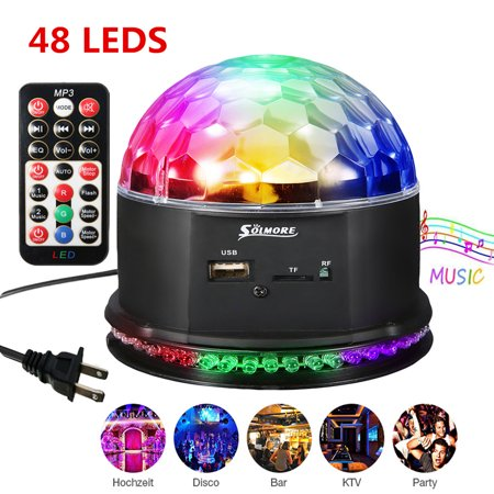Sound Activated Remote Control 3 RGB 48 LED Lights Crystal Magic Ball Support Music MP3 Player for Stage Lights Party Lights Christmas Halloween Disco DJ Lights - image 8 de 11