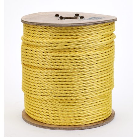 3-Strand Twisted Polypropylene Safety Rope, 3340 lbs Tensile Strength, 600 ft. Length x 3/8 in. Width, Yellow