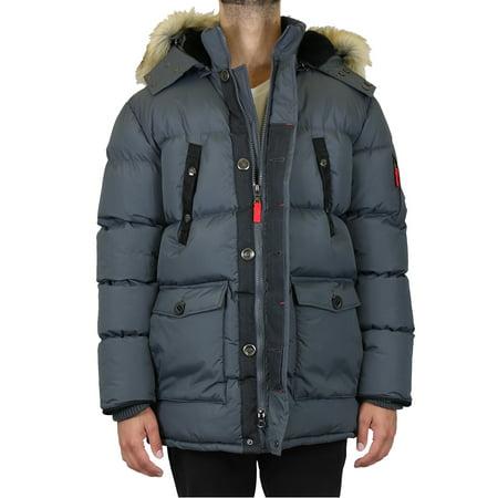 Men's Heavyweight Parka Jacket Coat With Detachable Hood Black Polyester Parka
