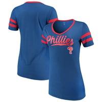 Women's New Era Royal Philadelphia Phillies Jersey V-Neck T-Shirt