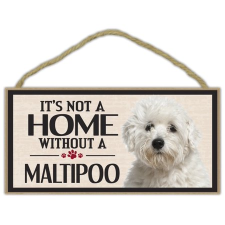 Wood Sign: It's Not A Home Without A MALTIPOO (MALTESE POODLE) | Dogs, Gifts - It's Halloween Sign